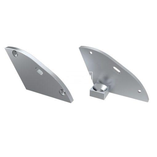 Alumínium Végzáró RETO típusú led profilokhoz Ezüst Jobb Lyukas 30°