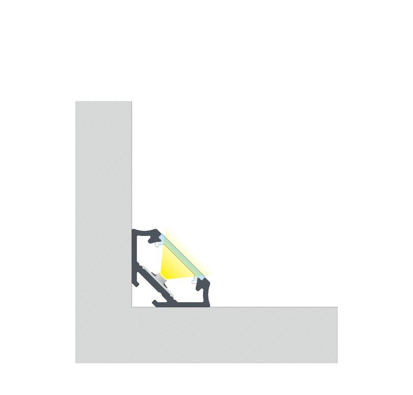 A C szögprofil BASIC fedéllel történő kétoldalas szalaggal történő összeszerelésének végeredménye
