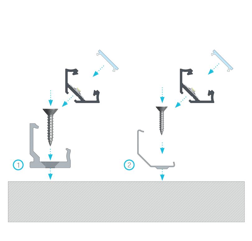 A C szögprofil beszerelési útmutatója BASIC fedővel (1) egy CH műanyag rögzítőcsipesszel, (2) egy fém CH rögzítőcsipesszel