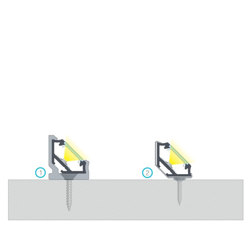 A C szögprofil BASIC fedéllel történő összeszerelésének végeredménye (1) egy CH műanyag rögzítőkapocs, (2) egy fém CH rögzítőkapocs segítségével